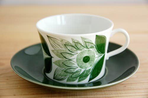 RORSTRAND/ロールストランド/お花模様のカップ&ソーサー(グリーン)の商品写真