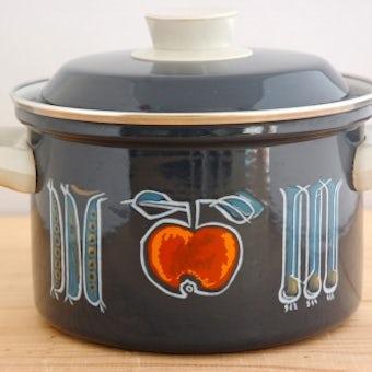 スウェーデンで見つけたホーロー両手鍋(野菜柄)の商品写真