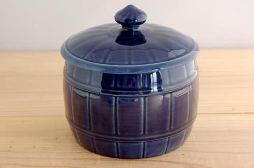 RORSTRAND/ロールストランド/陶器のキャニスター(ブルー、樽型)の商品写真
