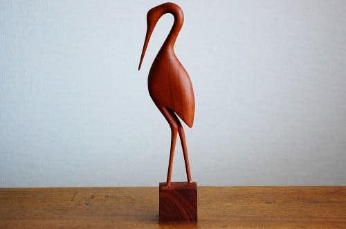 スウェーデンで見つけたチーク材の鳥のオブジェの商品写真