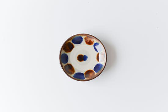 【取り扱い終了】やちむん/飴コバルト点打/3寸皿(径:約9cm)の商品写真