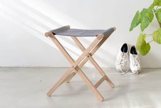 【別注カラー】国産帆布の折りたたみイス(チャコールグレー)の商品写真