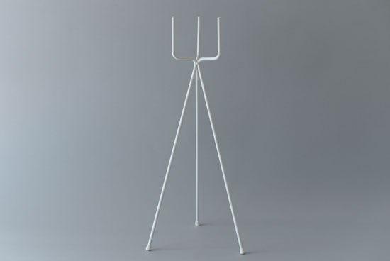 植木鉢スタンド/フォーク・ホワイト(径11cm/高さ60cm)の商品写真