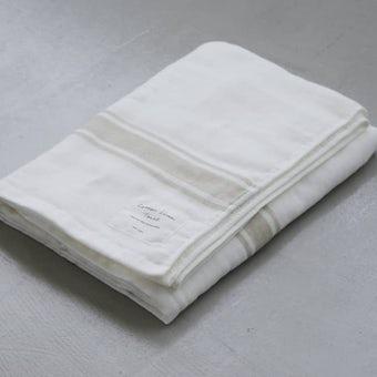 さらりと心地よい、コットンリネンのバスタオル(ホワイト×ベージュ)の商品写真