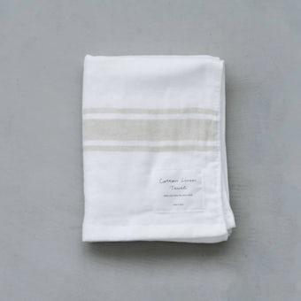 さらりと心地よい、コットンリネンのフェイスタオル(ホワイト×ベージュ)の商品写真