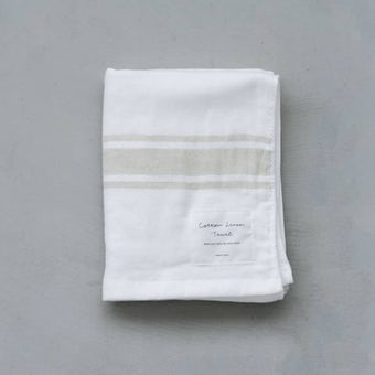 【次回入荷未定】さらりと心地よい、コットンリネンのフェイスタオル(ホワイト×ベージュ)の商品写真