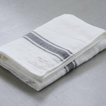 【次回9月下旬入荷予定】さらりと心地よい、コットンリネンのバスタオル(ホワイト×グレー)の商品写真