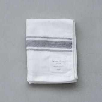 さらりと心地よい、コットンリネンのフェイスタオル(ホワイト×グレー)の商品写真