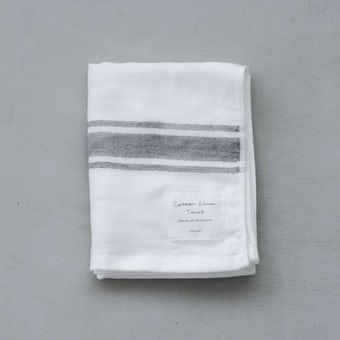 【次回入荷未定】さらりと心地よい、コットンリネンのフェイスタオル(ホワイト×グレー)の商品写真