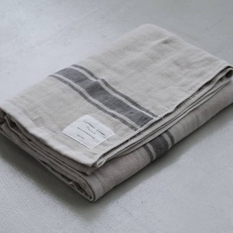 【次回9月下旬入荷予定】さらりと心地よい、コットンリネンのバスタオル(ベージュ×グレー)の商品写真