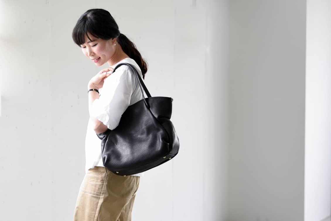Ense/アンサ/レザートートバッグ(ブラック)の商品写真