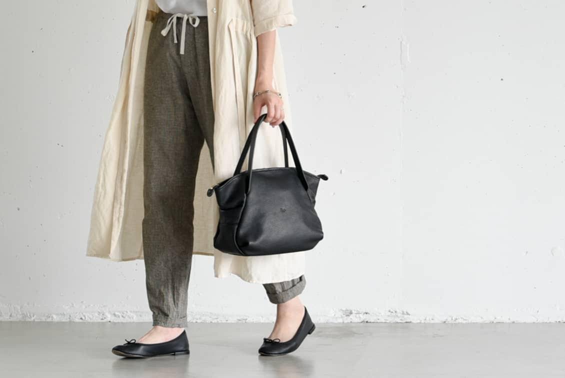 【次回9月入荷予定】Ense/アンサ/レザートートバッグ ミニ(ブラック)の商品写真