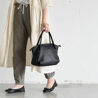 【次回4月ごろ入荷予定】Ense/アンサ/レザートートバッグ ミニ(ブラック)の商品写真