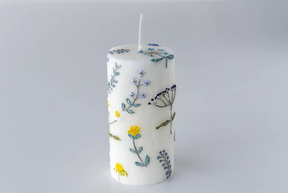 【次回入荷未定】nuri candle/庭に咲く花/アロマキャンドル(円柱)の商品写真