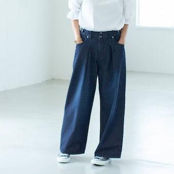 【次回入荷未定】「今日のコーデはデニムが主役」すっきり見えインタックのワイドパンツ(インディゴ)の商品写真