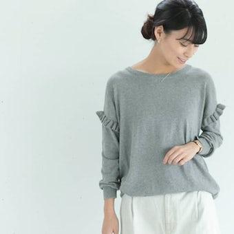 【今季終了】utilite/ラッフルスリーブニット/ライトグレーの商品写真