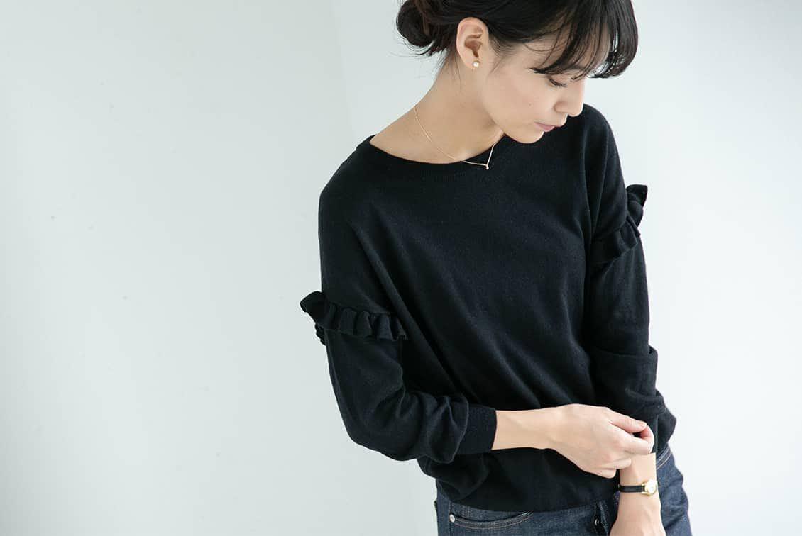 【今季終了】utilite/ラッフルスリーブニット/ブラックの商品写真