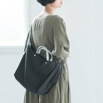 【次回1月末入荷予定】yes/イエス/リネンショルダーバッグ(コアグレー×ホワイト)の商品写真