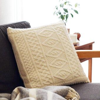 【取り扱い終了】linoo/アラン編みのクッションカバー(45cm×45cm)/ホワイトの商品写真