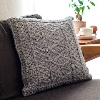 【取り扱い終了】linoo/アラン編みのクッションカバー(45cm×45cm)/グレーの商品写真