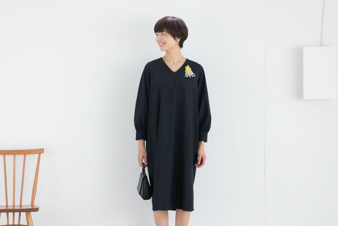 【今季終了】レギュラーサイズ/「大切な日もわたしらしく」フォーマルワンピース(コクーン)/atelier naruse×KURASHI&Trips PUBLISHINGの商品写真