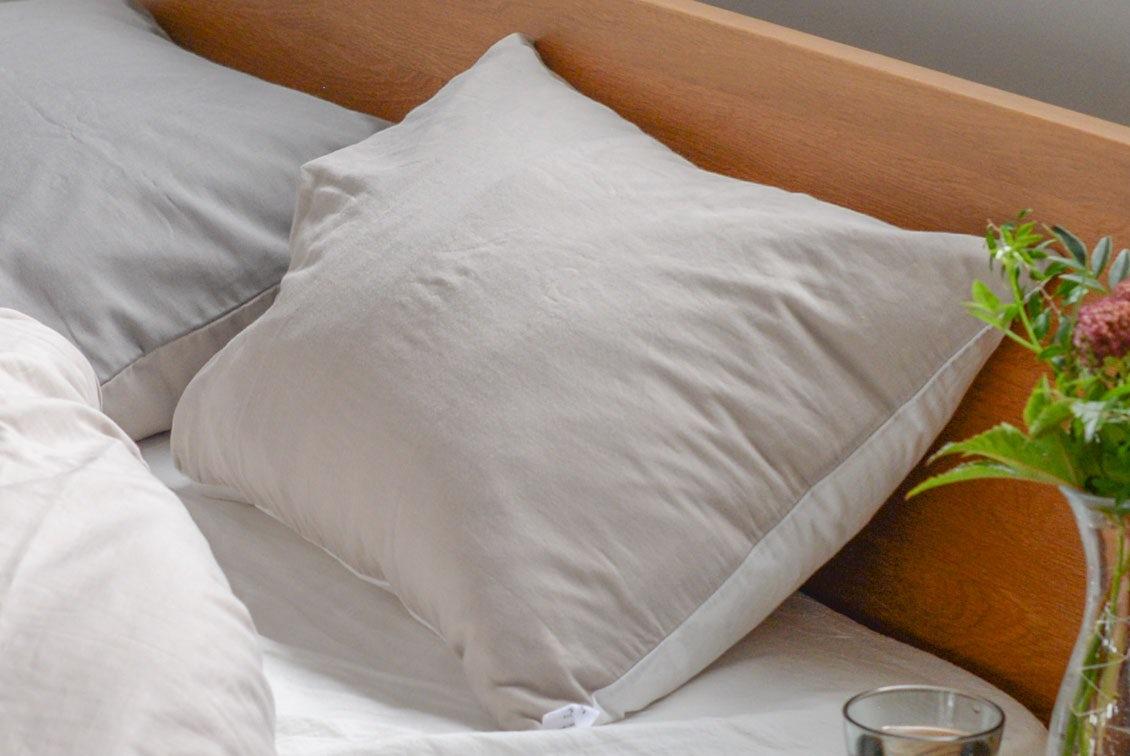 【次回9月末入荷予定】枕カバー/43×63cm(ホワイト×ベージュ)/ さっとつけられる布団カバーシリーズの商品写真