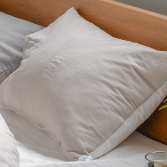 【6月中旬入荷予定】枕カバー/43×63cm(ホワイト×ベージュ)/ さっとつけられる布団カバーシリーズの商品写真