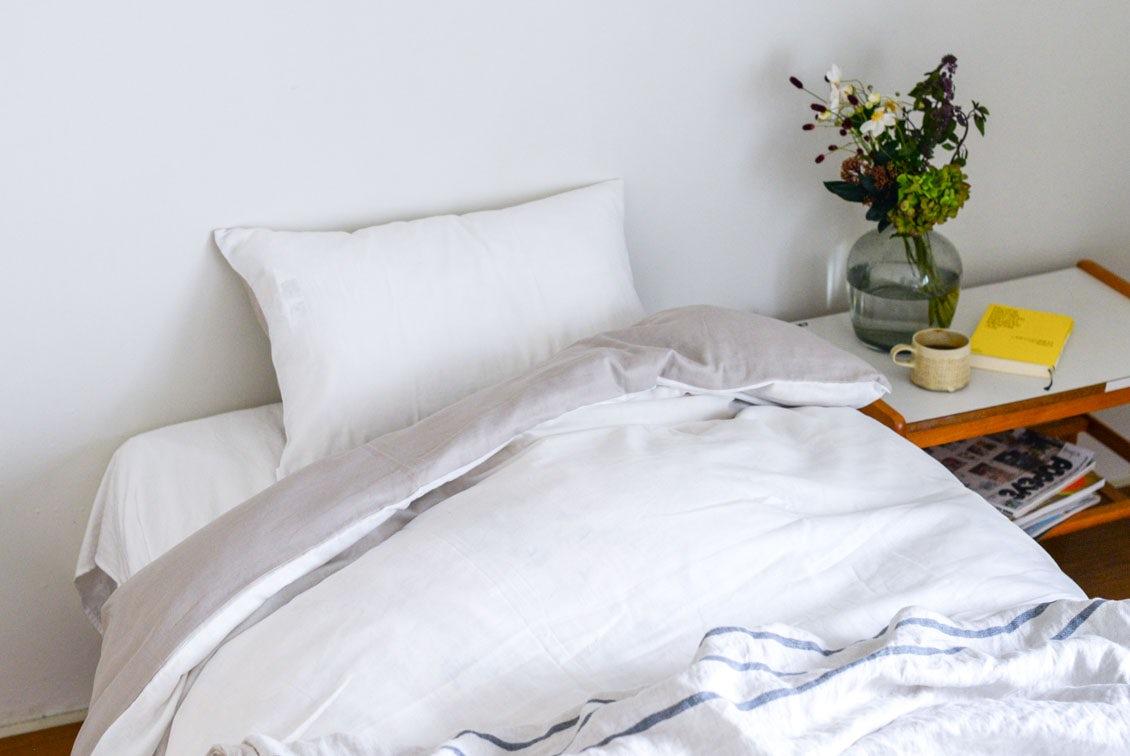 【次回9月末入荷予定】掛け布団カバー / シングル(ホワイト×ベージュ)/ さっとつけられる布団カバーシリーズの商品写真