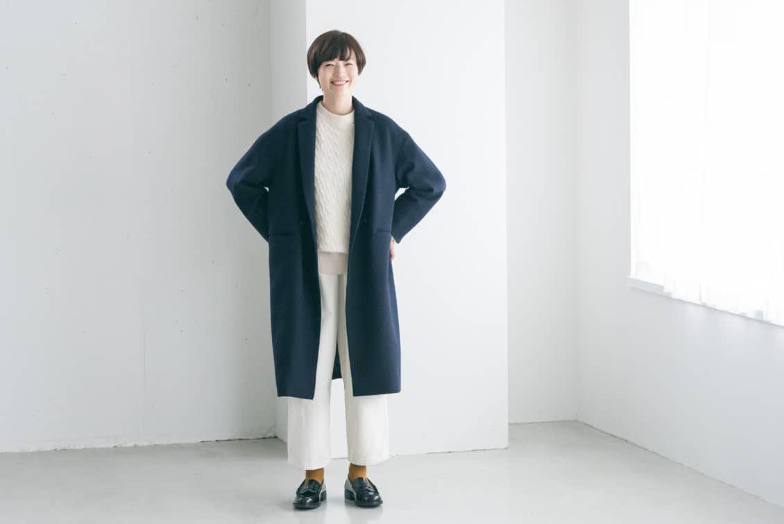 【2019年10月頃入荷予定】「冬のお出かけも私らしく」3WAYアレンジ襟のかろやかチェスターコート(ネイビー)/KURASHI&Trips PUBLISHINGの商品写真