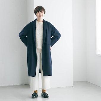 「冬のお出かけも私らしく」3WAYアレンジ襟のかろやかチェスターコート(ネイビー)の商品写真