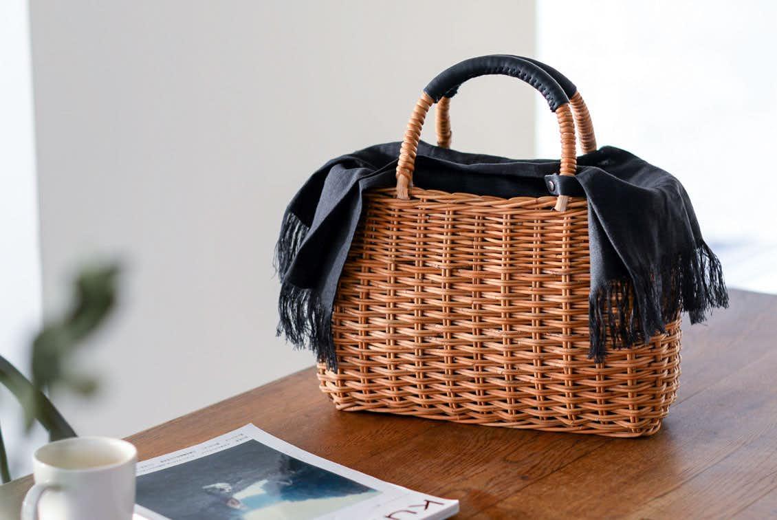 【取り扱い終了】「たっぷり荷物もすっぽり可愛く」よくばりかごバッグ(リネンクロス付き )の商品写真