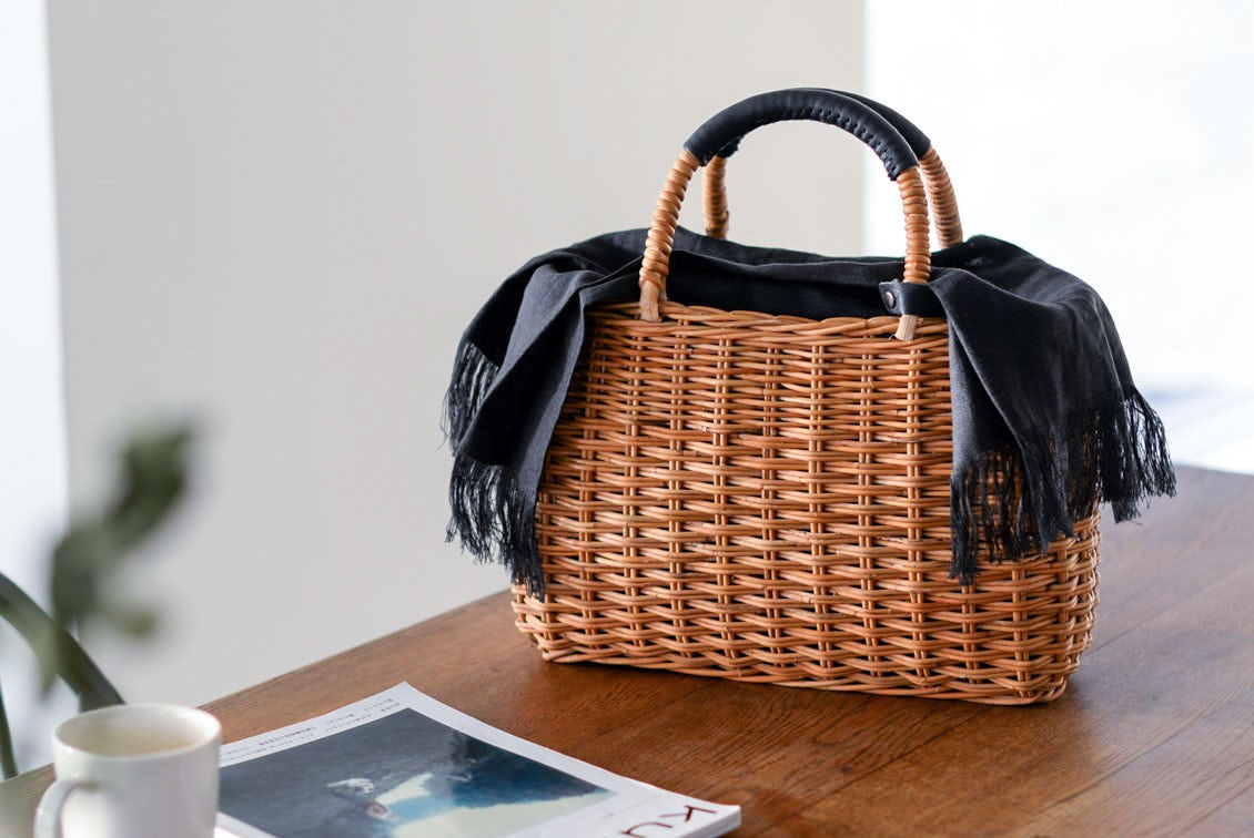 ※「たっぷり荷物もすっぽり可愛く」よくばりかごバッグ(リネンクロス付き )の商品写真