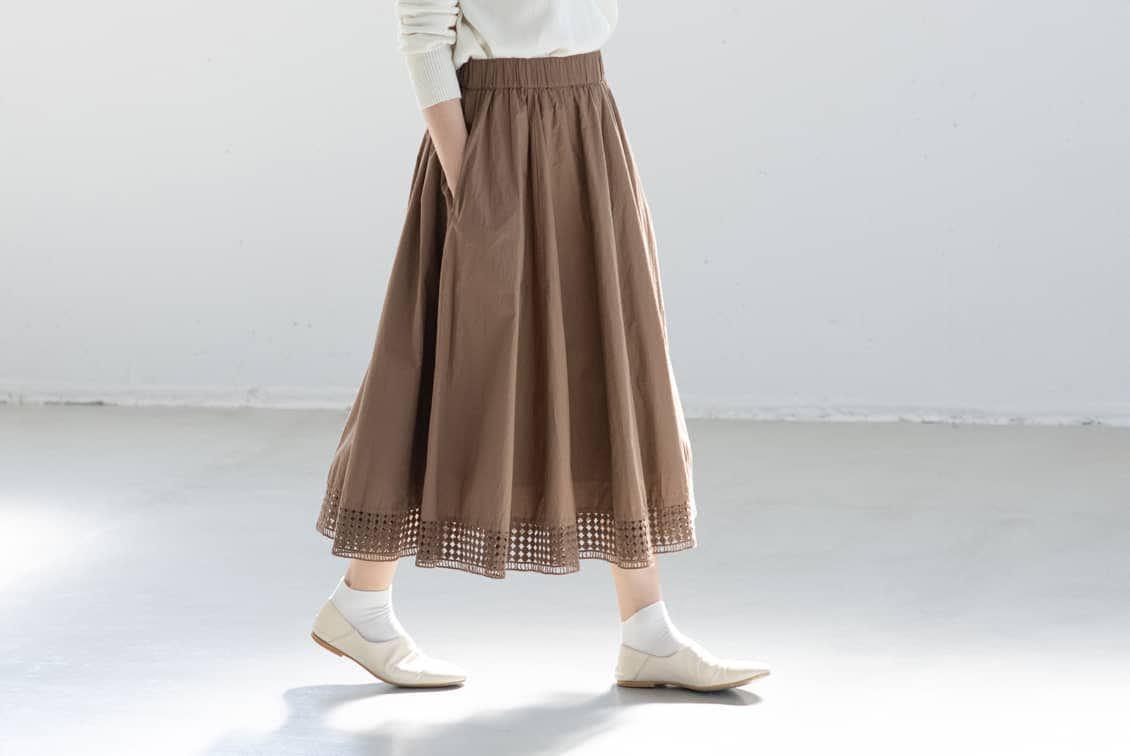 【取り扱い終了】utilite/ユティリテ/刺繍レーススカート(ベージュ)の商品写真