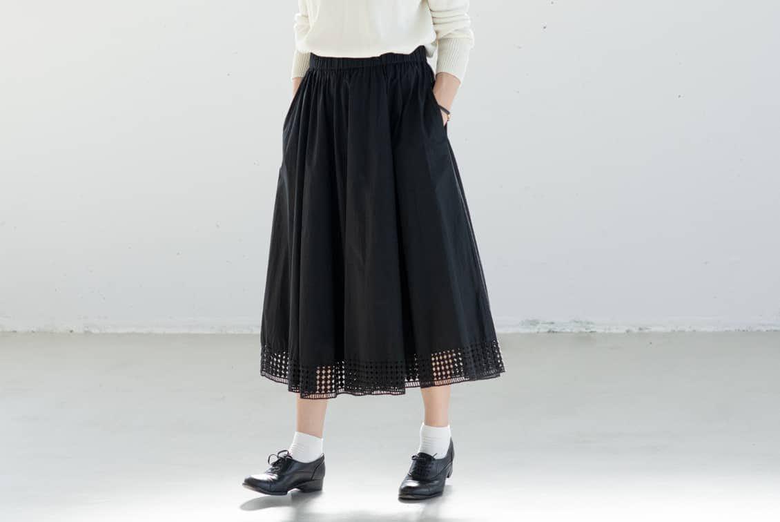 【取り扱い終了】utilite/ユティリテ/刺繍レーススカート(ブラック)の商品写真