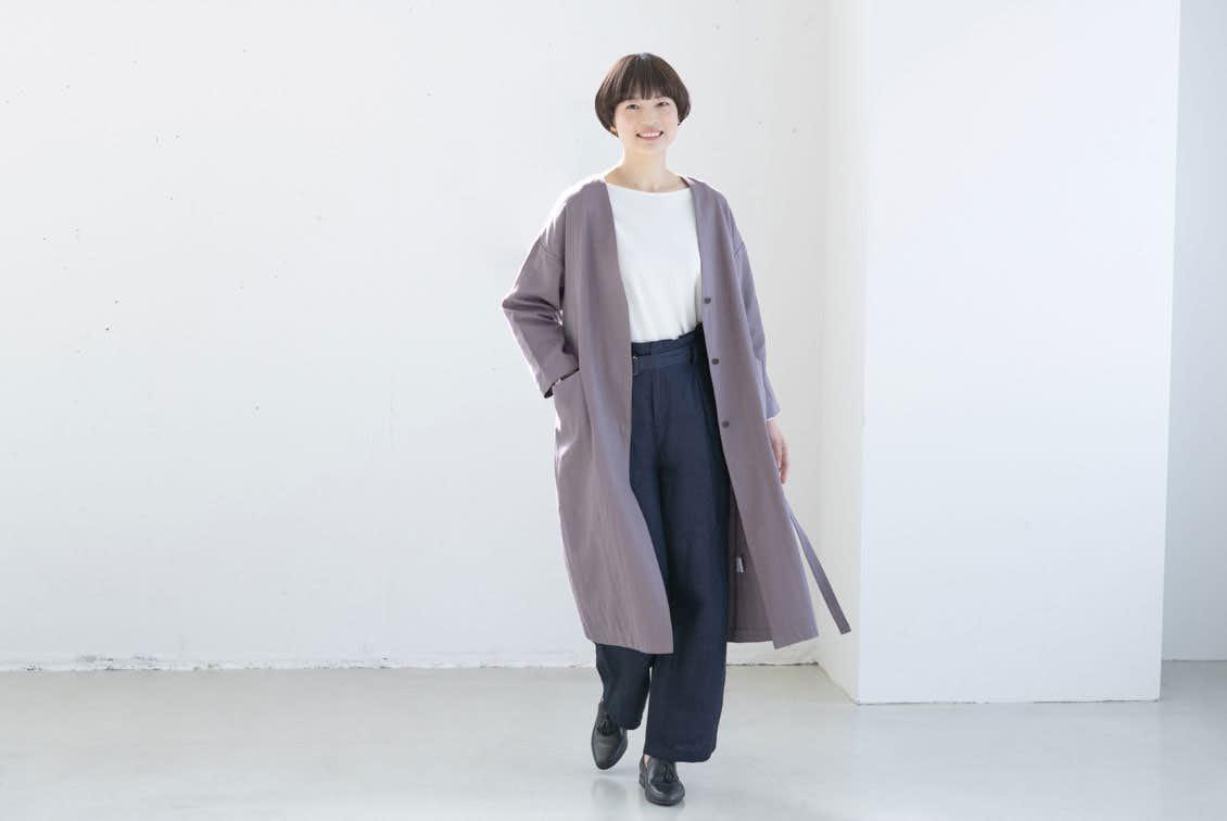 【今季終了】「羽織ればはじまる春きぶん」リネンコットンのノーカラーコート(ローズグレー)の商品写真