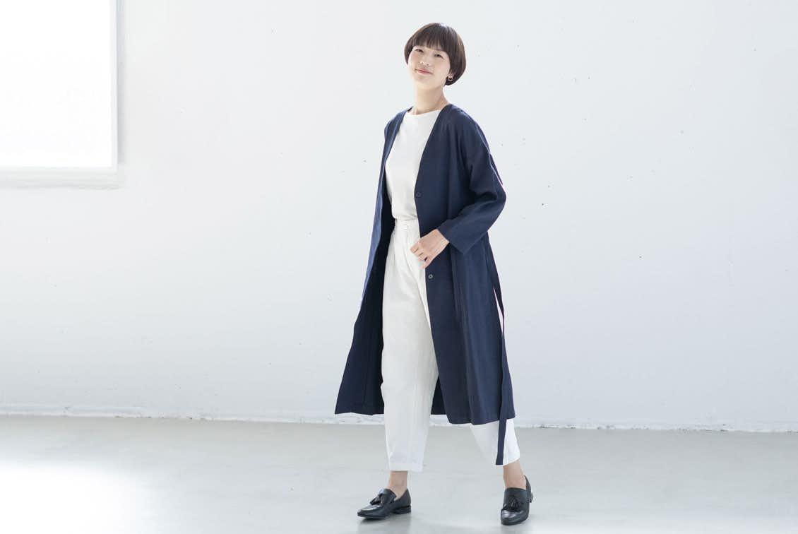 【今季終了】「羽織ればはじまる春きぶん」リネンコットンのノーカラーコート(ネイビー)の商品写真