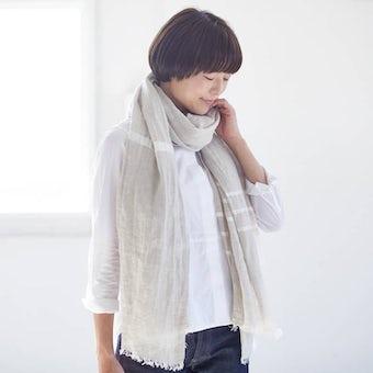 LAPUAN KANKURIT/ラプアン・カンクリ/USVA/ウォッシュドリネン ストール(ホワイト)の商品写真