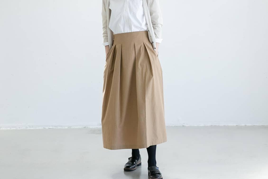 【今季終了】数量限定!「楽してきちんと、3通り」着回しよくばりロングスカート(ベージュ)/香菜子×KURASHI&Trips PUBLISHINGの商品写真