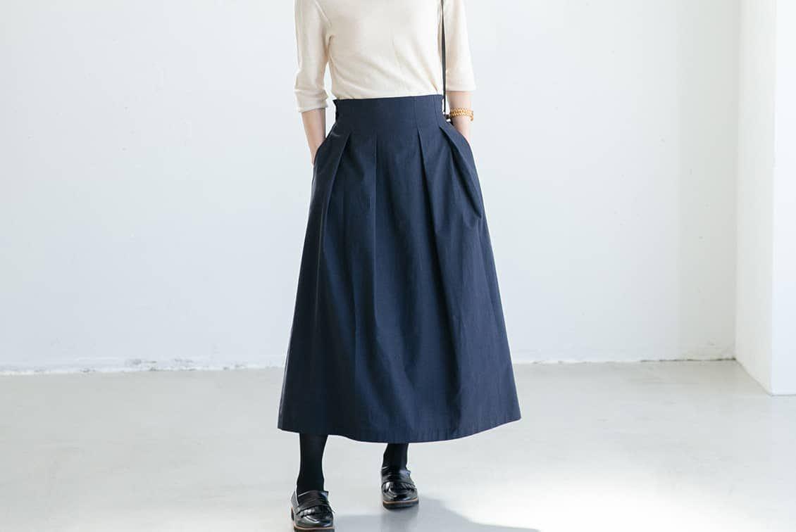 【今季終了】数量限定!「楽してきちんと、3通り」着回しよくばりロングスカート(ネイビー)/香菜子×KURASHI&Trips PUBLISHINGの商品写真