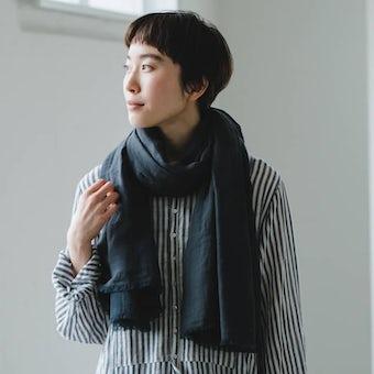 【次回入荷未定】hatsutoki/播州織のコットンストール(ネイビー)の商品写真