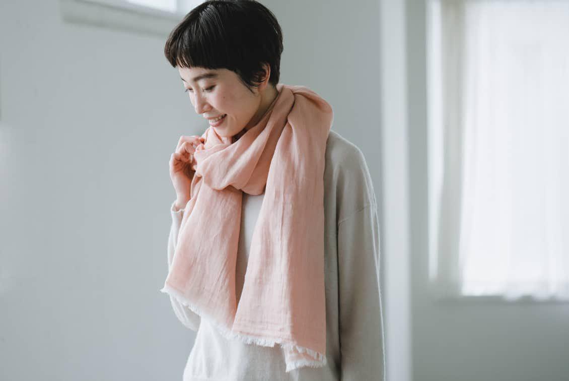 【当店別注】hatsutoki/播州織のコットンストール(ピンク)の商品写真