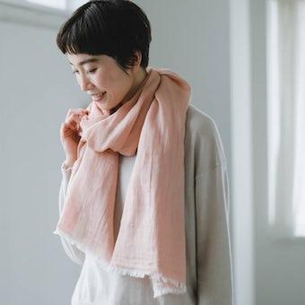 【次回入荷未定】【当店別注】hatsutoki/播州織のコットンストール(ピンク)の商品写真