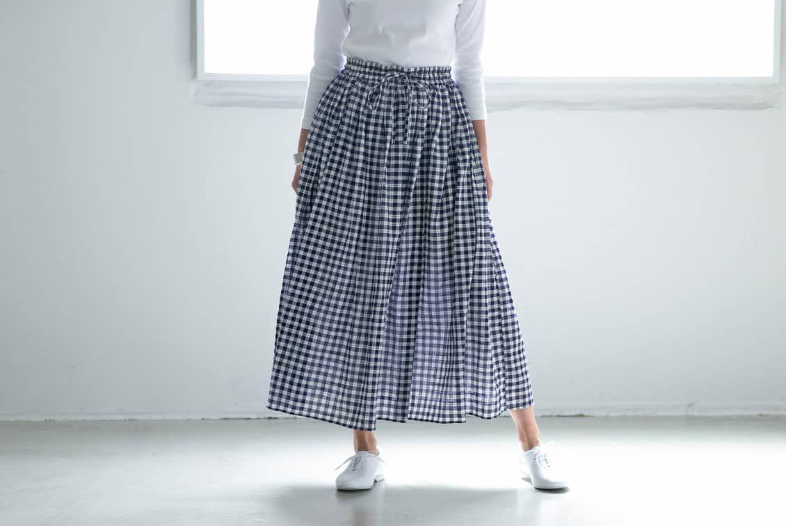 【今季終了】SOIL /ギャザースカート/ギンガムチェック(ネイビー)の商品写真
