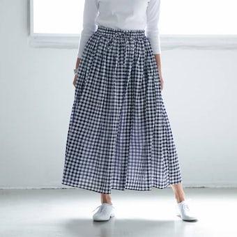 【次回6月上旬ごろ入荷】SOIL /ギャザースカート/ギンガムチェック(ネイビー)の商品写真