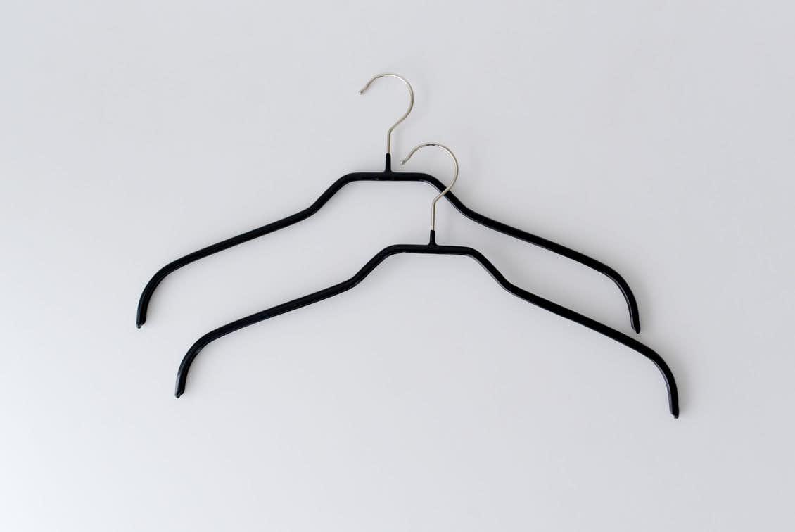 MAWAハンガー/シルエット/41cm幅/2本セット(ブラック)の商品写真