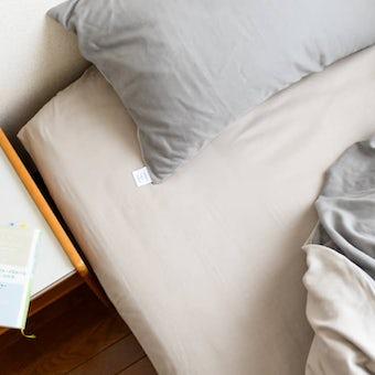 【次回2月ごろ入荷予定】ボックスシーツ / ダブル(ベージュ)/ さっとつけられる布団カバーシリーズの商品写真