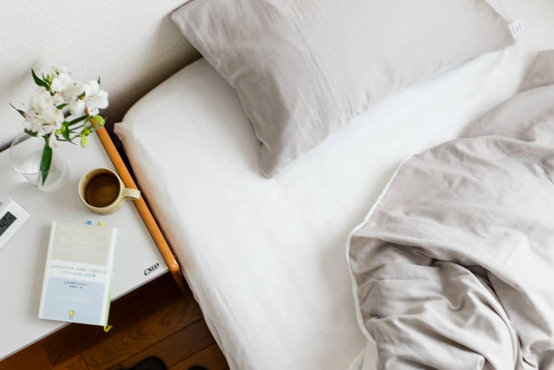 【次回9月末入荷予定】ボックスシーツ / ダブル(ホワイト)/ さっとつけられる布団カバーシリーズの商品写真