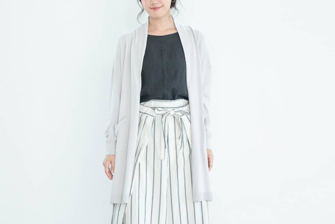 【今季終了】「首もとまで安心」UVカットのロングカーディガン(ライトグレー)の商品写真