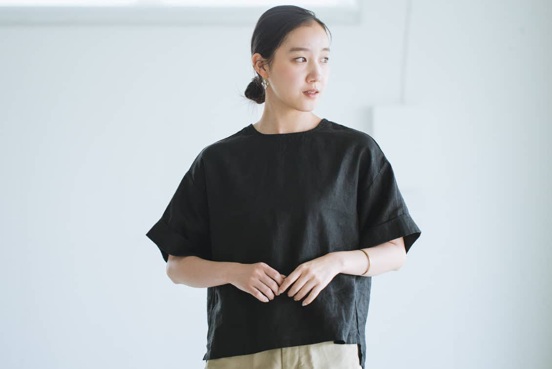 【当店別注】fog linen work / リネントップス / ブラックの商品写真