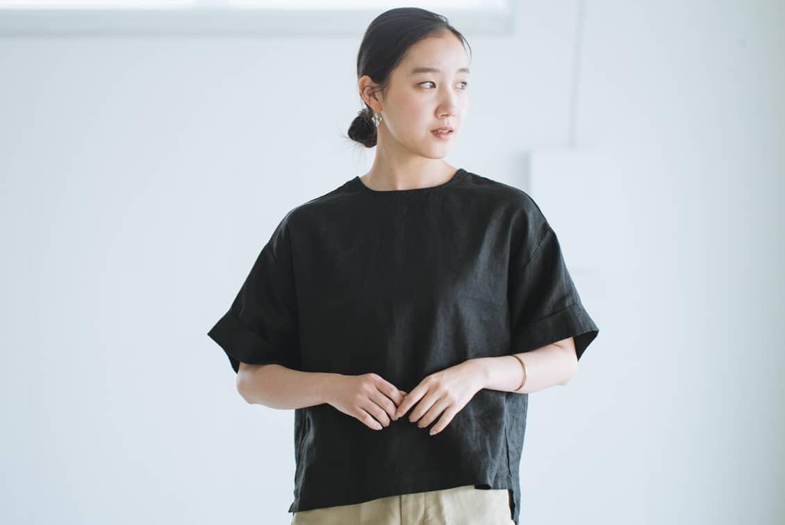 【今季終了】fog linen work / リネントップス / ブラックの商品写真